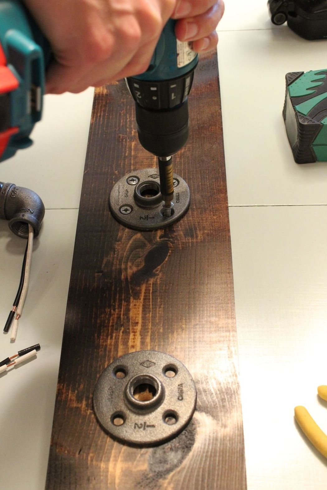 Drilling hole for the the lamp drips