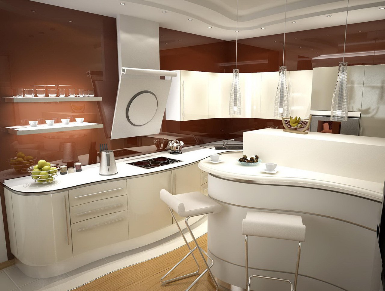 Modern Style Kitchen Design Ideas and Arrangement Advice with Photos. Ultramodern glossy designed room with curring edge appliances
