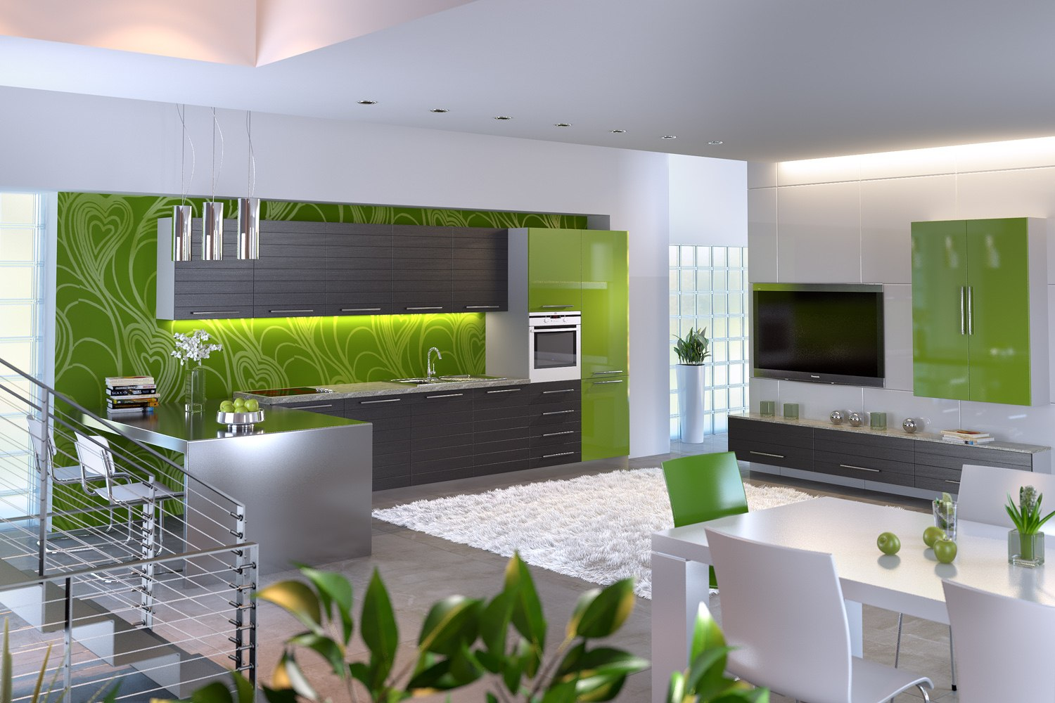 Green intrusion of color into white and gray combination for modern kitchen