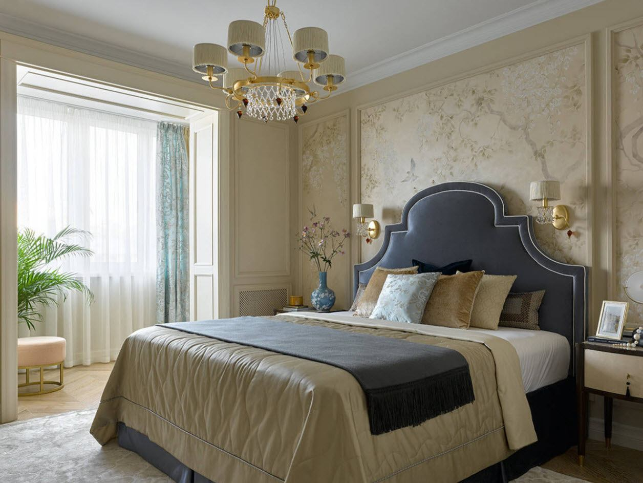 Classic bedroom style and the entrance to balcony