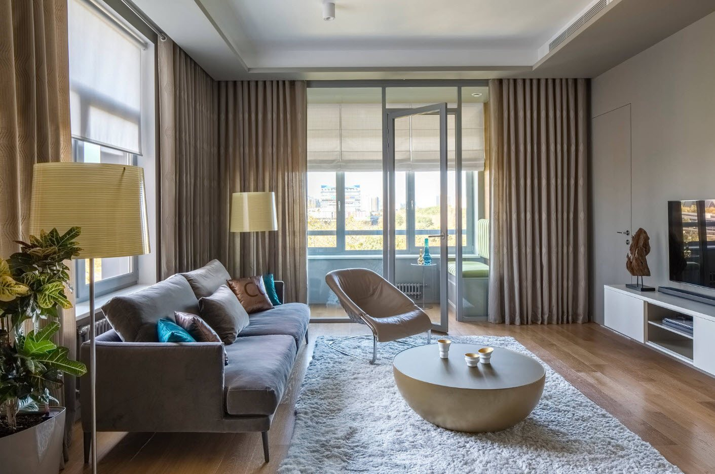 Color contrast in the living room with the balcony zoned with curtains