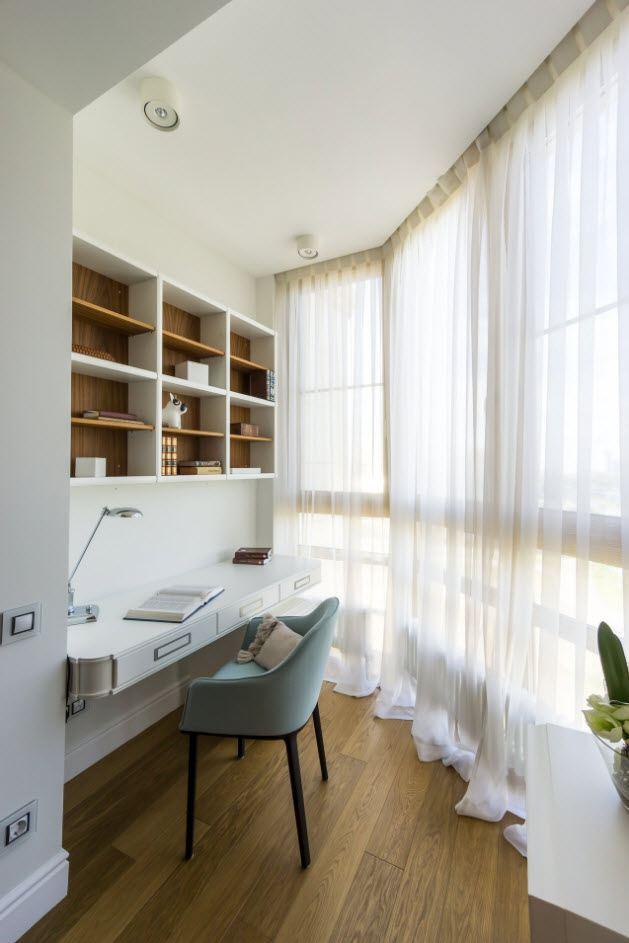Balcony Curtains: Actual and Fashionable Decoration Ideas. Tulle curtains at the panoramic window and working place