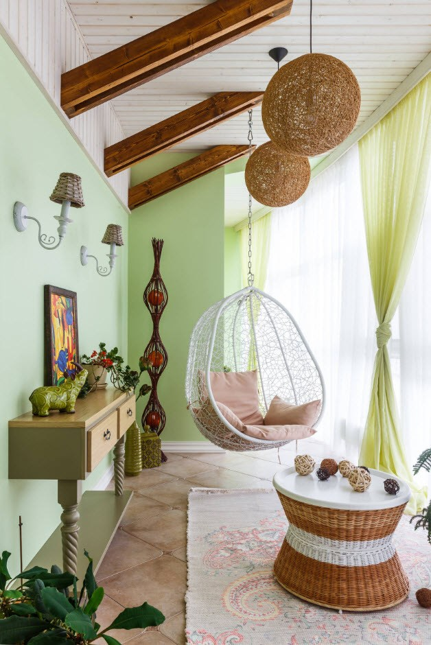 Balcony Curtains: Actual and Fashionable Decoration Ideas. Acid green classic interior