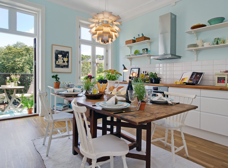Scandinavian Style Kitchen: Interior Decoration and Furniture Ideas. Light turquoise wall colors