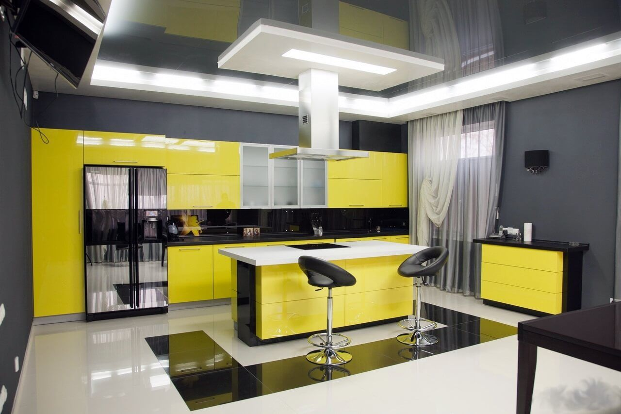 Modern Style Kitchen Design Ideas and Arrangement Advice with Photos. Yellow and black color theme