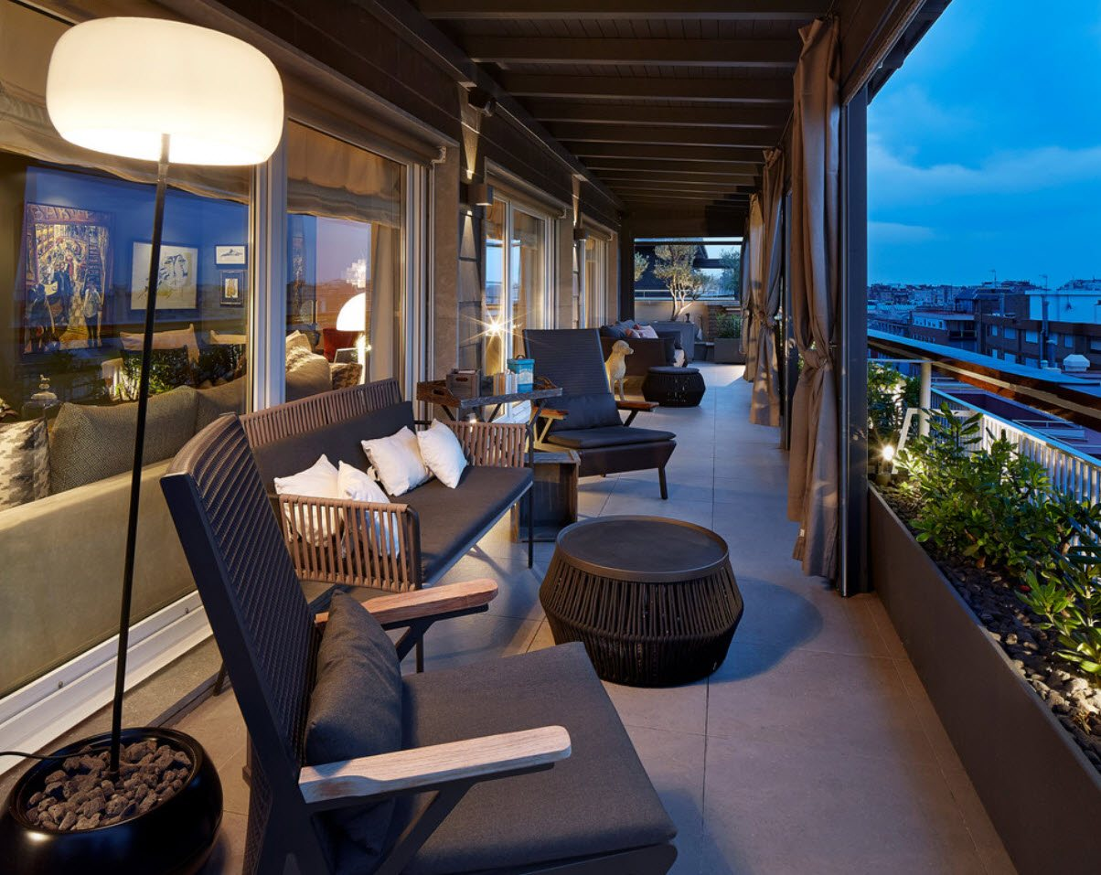 Large Balcony Design Ideas: Modern Trends in Furniture and Decoration. Wicker furniture and open architectural constructions