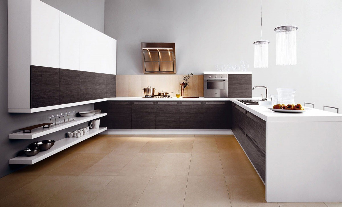 Wooden imitating floor at the large modern styled U-shaped kitchen