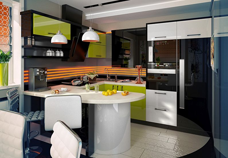 Modern Style Kitchen Design Ideas and Arrangement Advice with Photos. Colorful interior and glossy surafces with stremline forms