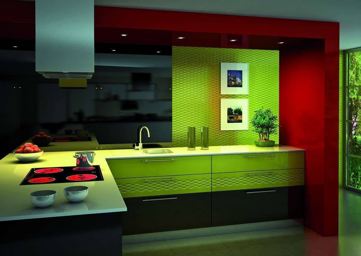 Modern styled kitchen with lime green colored facades and splashback