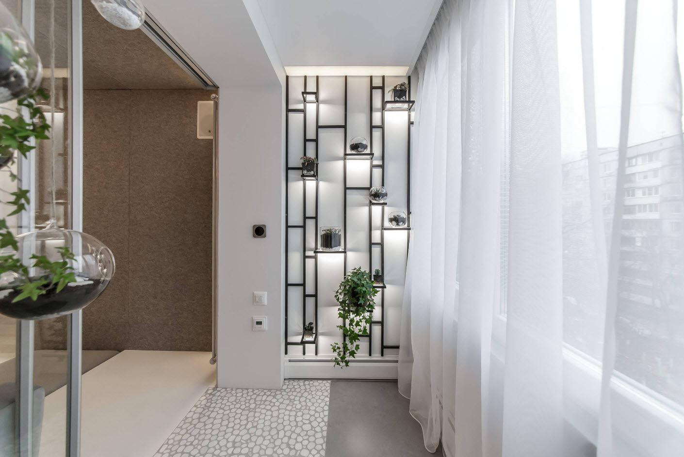 Balcony Curtains: Actual and Fashionable Decoration Ideas. Black metal shelving at the white modern loggia