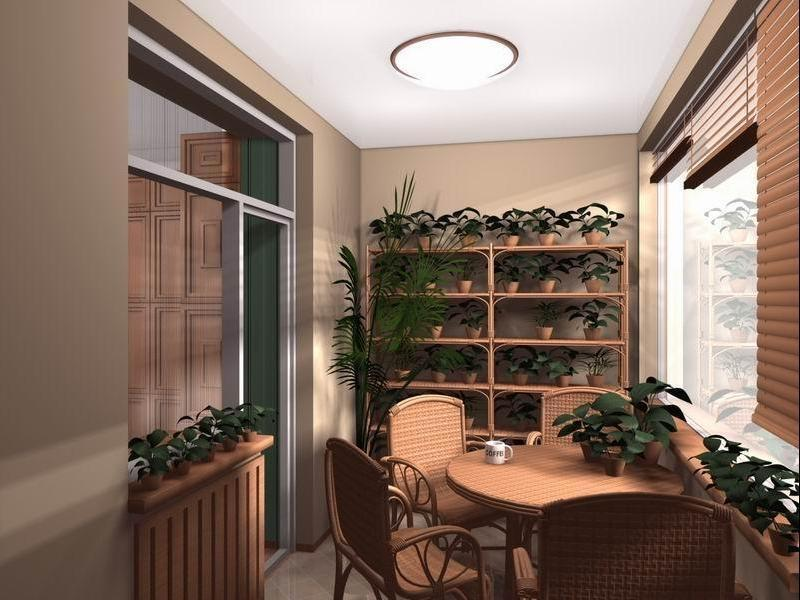 Large Balcony Design Ideas: Modern Trends in Furniture and Decoration. Shelving with plants and wooden furniture