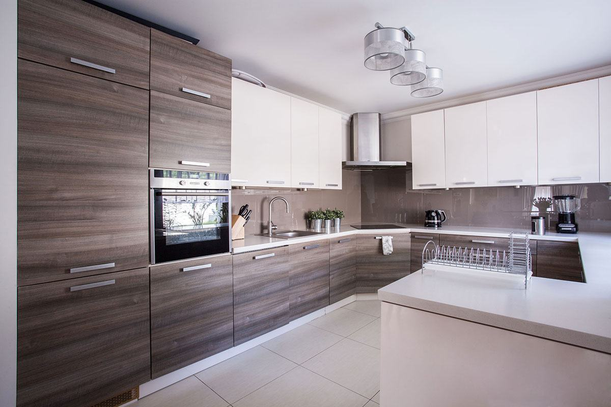 Wooden structure imitation of the kitchen facades and glossy flooring
