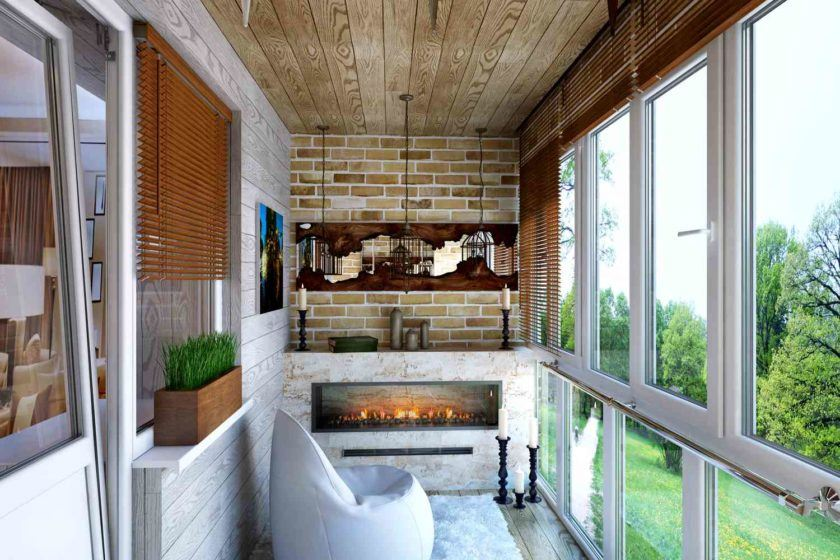 Large Balcony Design Ideas: Modern Trends in Furniture and Decoration. Zone for relaxation with artificial fireplace