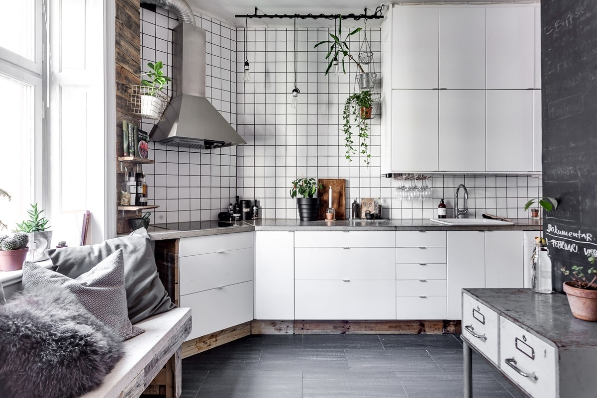 Scandinavian Style Kitchen: Interior Decoration and Furniture Ideas. Unusual shallow tile with dark grout at the white styled room