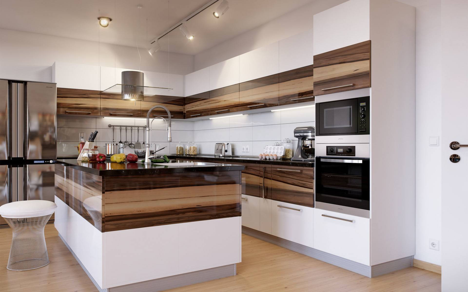 Modern Style Kitchen Design Ideas and Arrangement Advice with Photos. Nice decoration theme with brown horizontal stripes