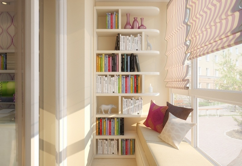 Balcony Curtains: Actual and Fashionable Decoration Ideas. Library at the balcony