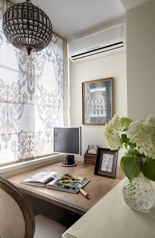 Balcony Curtains: Actual and Fashionable Decoration Ideas. Home office in casual style at the loggia
