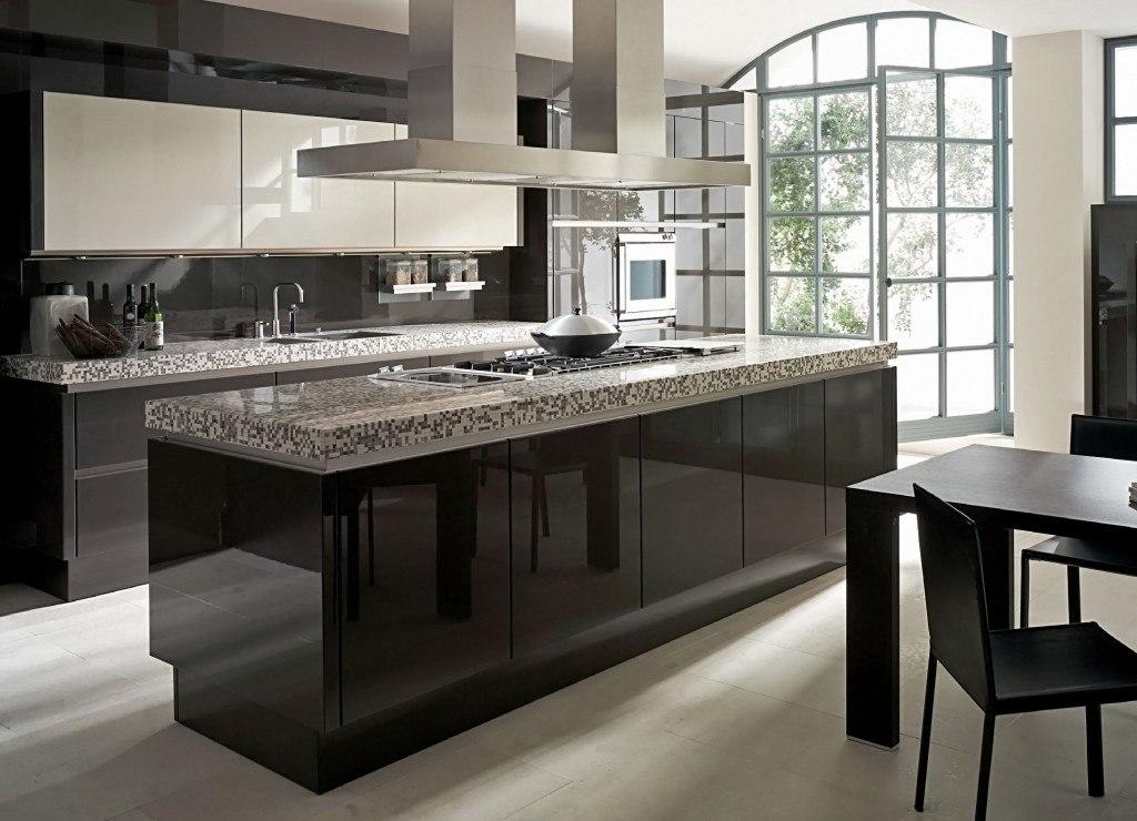 Dark glossy furniture at the modern kitchen with sash panoramic window