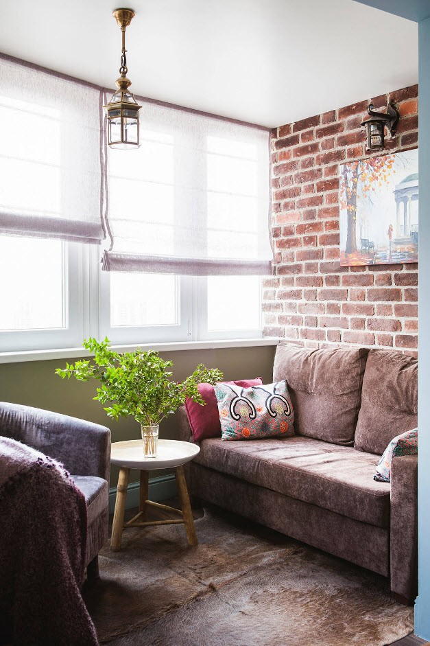 Balcony Curtains: Actual and Fashionable Decoration Ideas. Real cozy sitting area