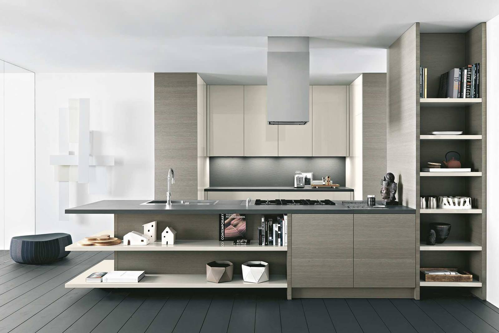 Gray and white designed modern kitchen with dark floor and open shelves