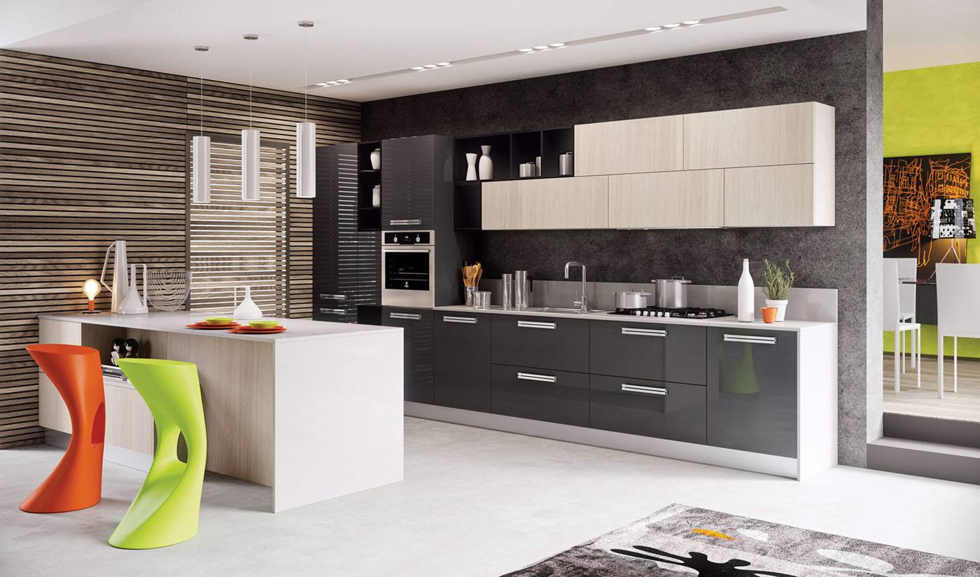 Modern Style Kitchen Design Ideas and Arrangement Advice with Photos. Dark surfaces of the furniture set with white central island
