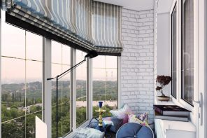 Balcony Curtains: Actual and Fashionable Decoration Ideas. Pleated roman blinds at the panoramic windows
