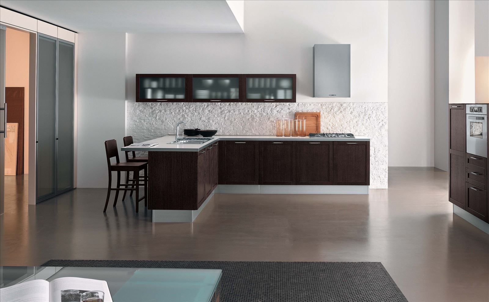Modern Style Kitchen Design Ideas and Arrangement Advice with Photos. Brown and chocolate color combination of decoration and furniture set for the kitchen with whitwashed brickwork splashback