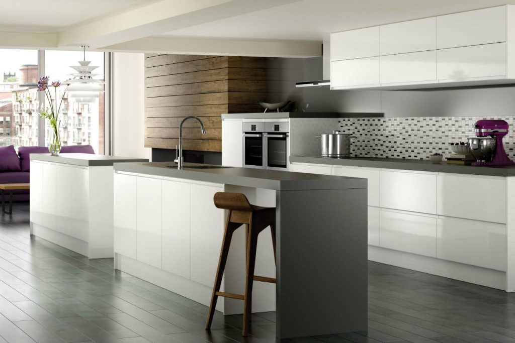 Modern Style Kitchen Design Ideas and Arrangement Advice with Photos. Gray worktop and white designed space with wooden inlays