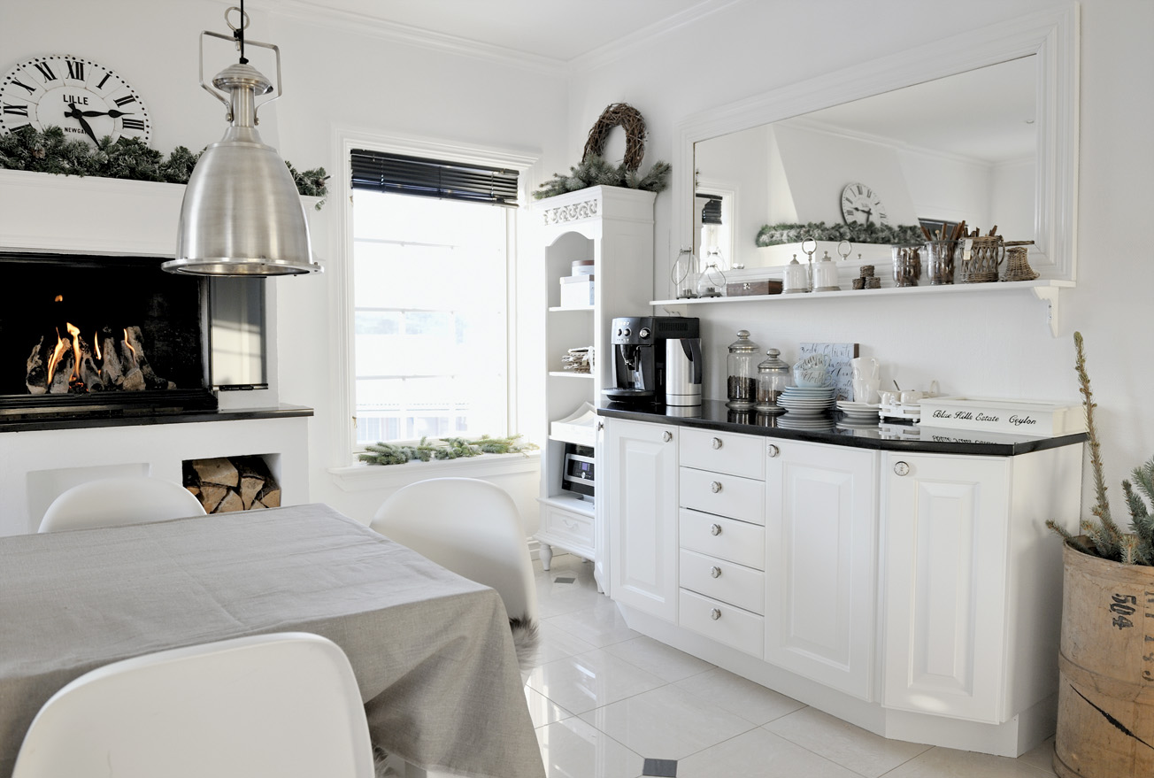 Simple concise design of teh Scandinavian kitchen with the black counters