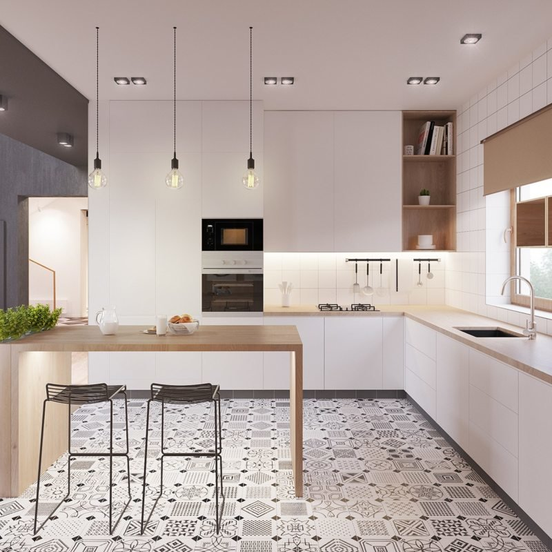 Scandinavian Style Kitchen: Interior Decoration and Furniture Ideas. Black and white pattern of the floor tile