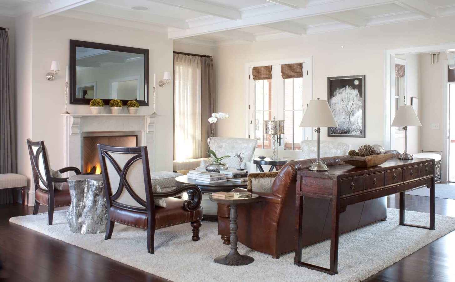 Nice classic dining room with hardwood furniture and mild beige colored walls