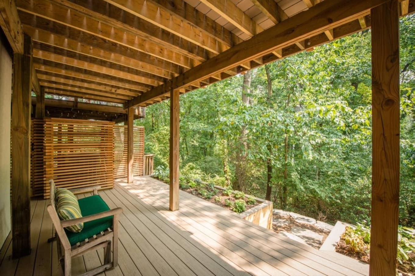 5 Unique Deck Ideas to Make the Most of Your Small Yard. Large deck with canopy with the forest view