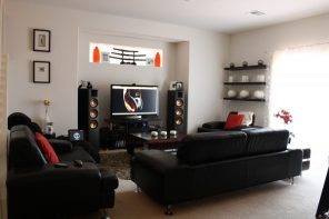 Main Stages of Home Cinema Installation in Detail. Small living room with home theater with touch of Japanese style