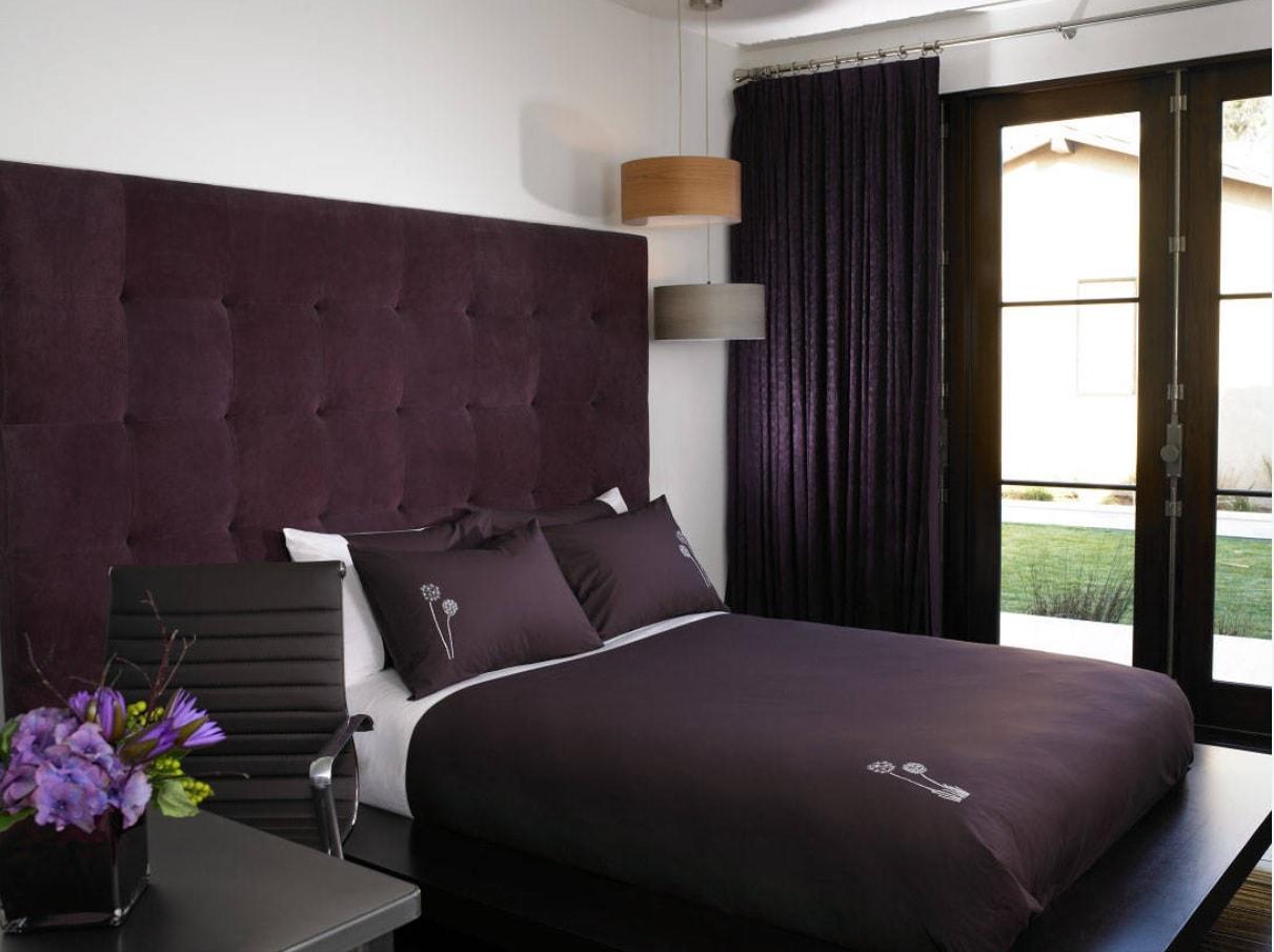 Overview of 10+ Biggest Home Design Trends in 2019 so Far. Purple velvet headboard