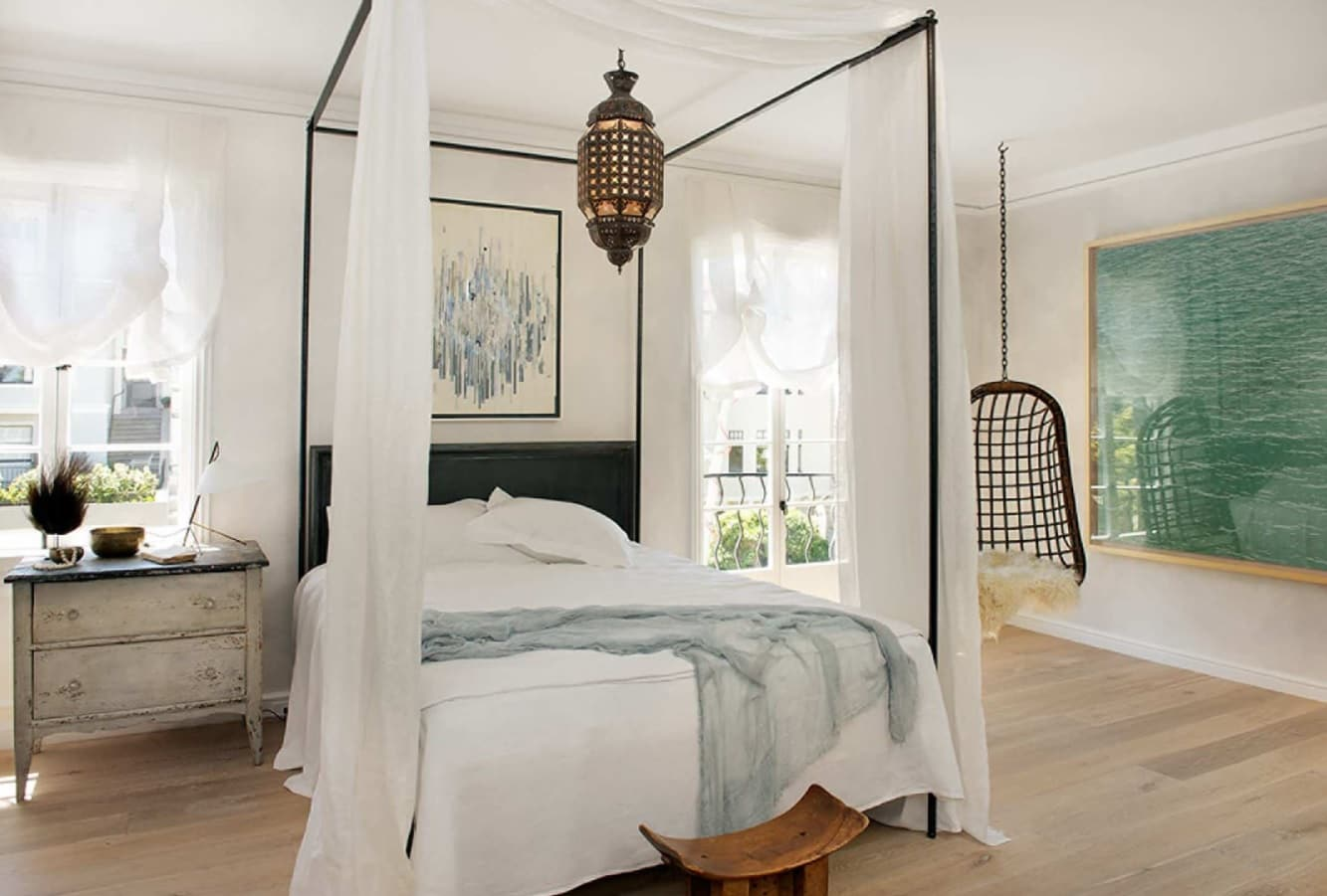 Overview of 10+ Biggest Home Design Trends in 2019 so Far. Canopy queen bed and white colored bedroom