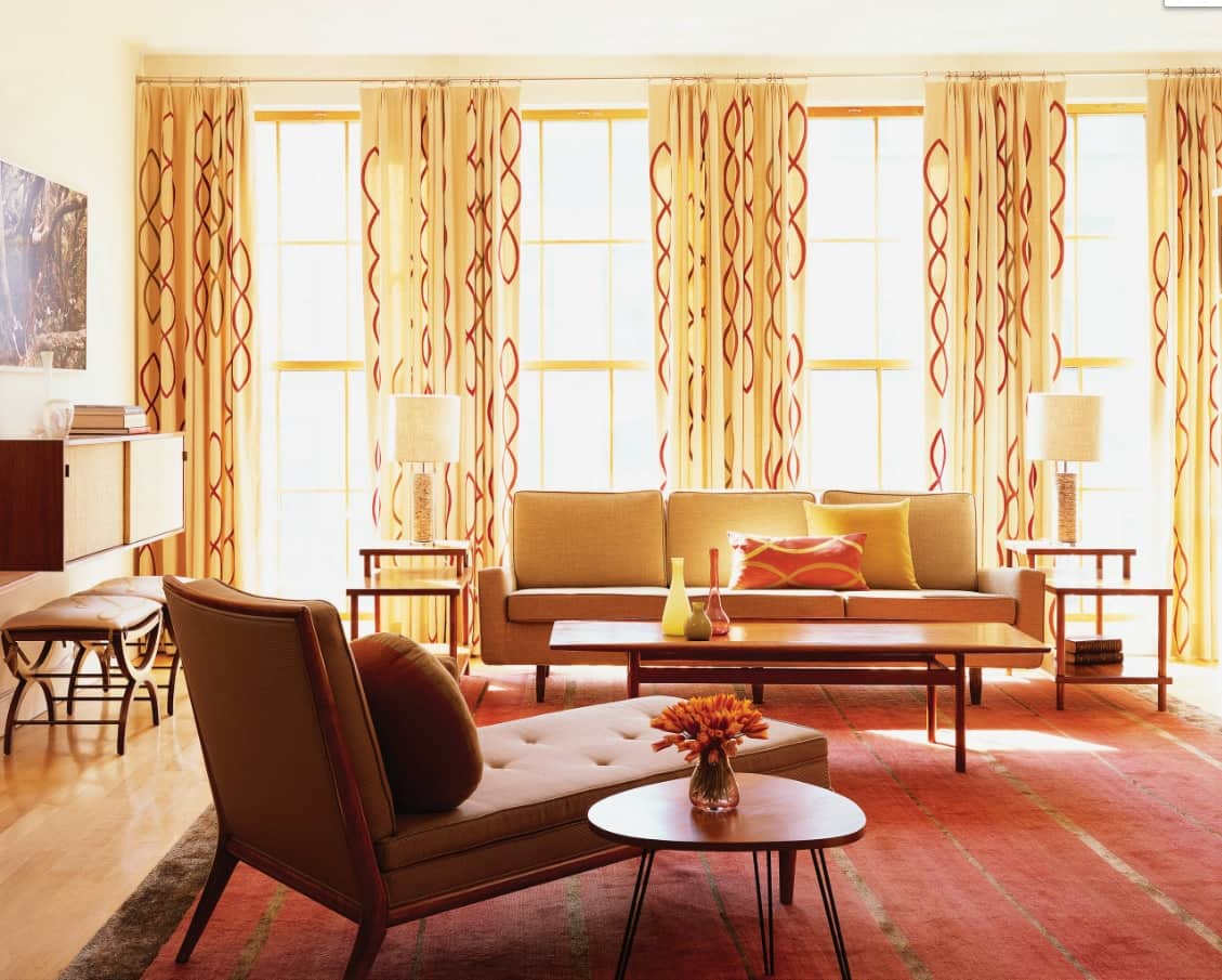 Overview of 10+ Biggest Home Design Trends in 2019 so Far. Yellow patterned tulle curtains