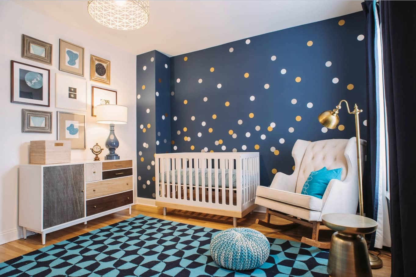 Overview of 10+ Biggest Home Design Trends in 2019 so Far. Dotted dark blue wall at the nursery