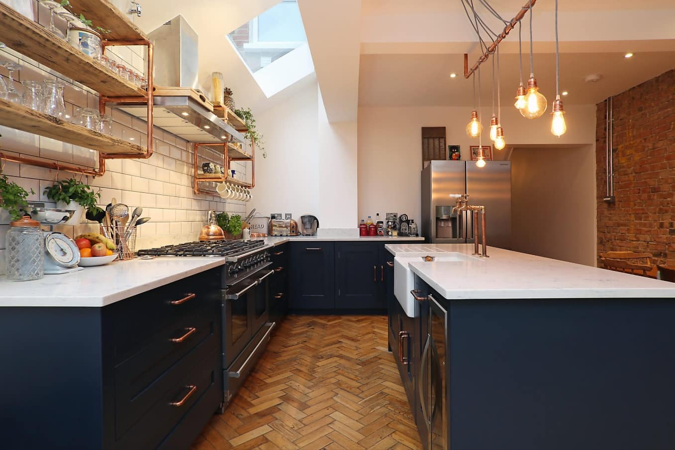Overview of 10+ Biggest Home Design Trends in 2019 so Far. Blue colored mixed Classic and Steampunk kitchen with metro tile at the splashback
