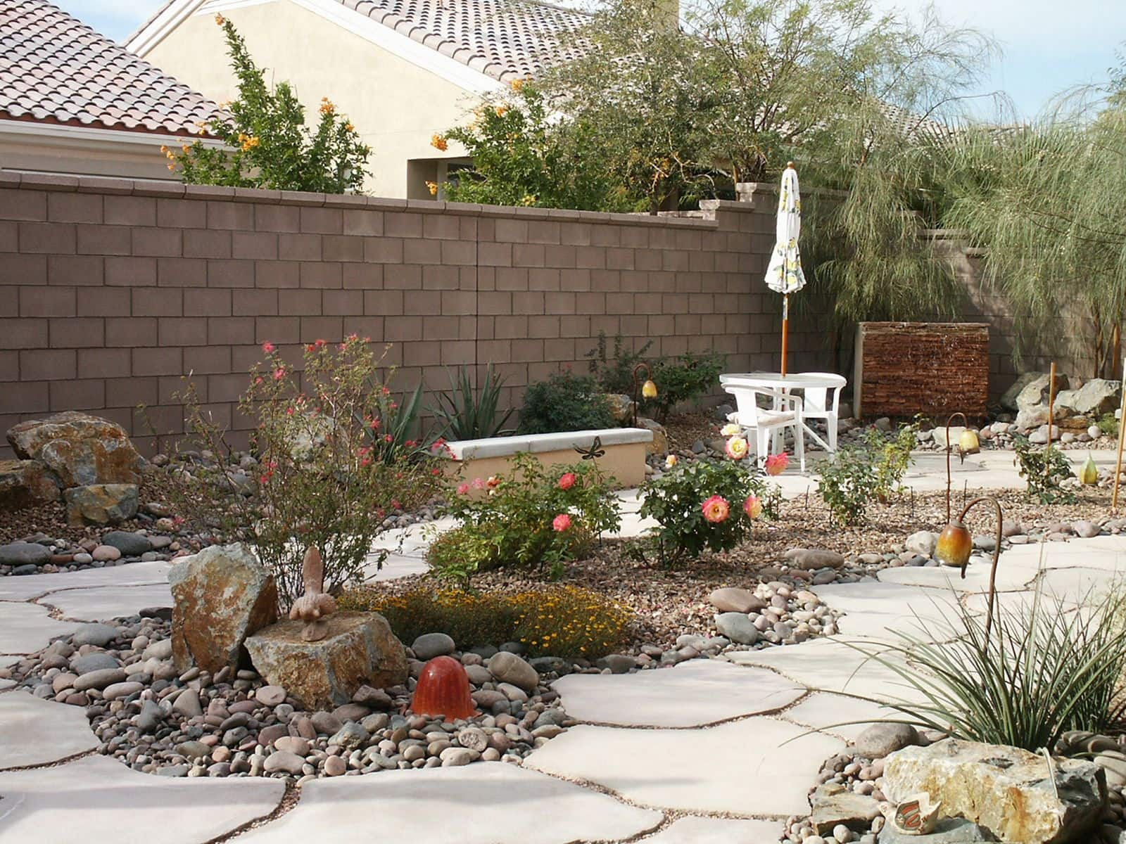 Stone paths at the desert looking plot