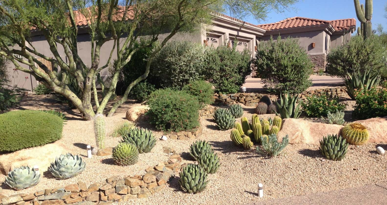 Best Landscape Design Ideas: Decorating Your Courtyard. Rock stone areas and succulents at the front yard