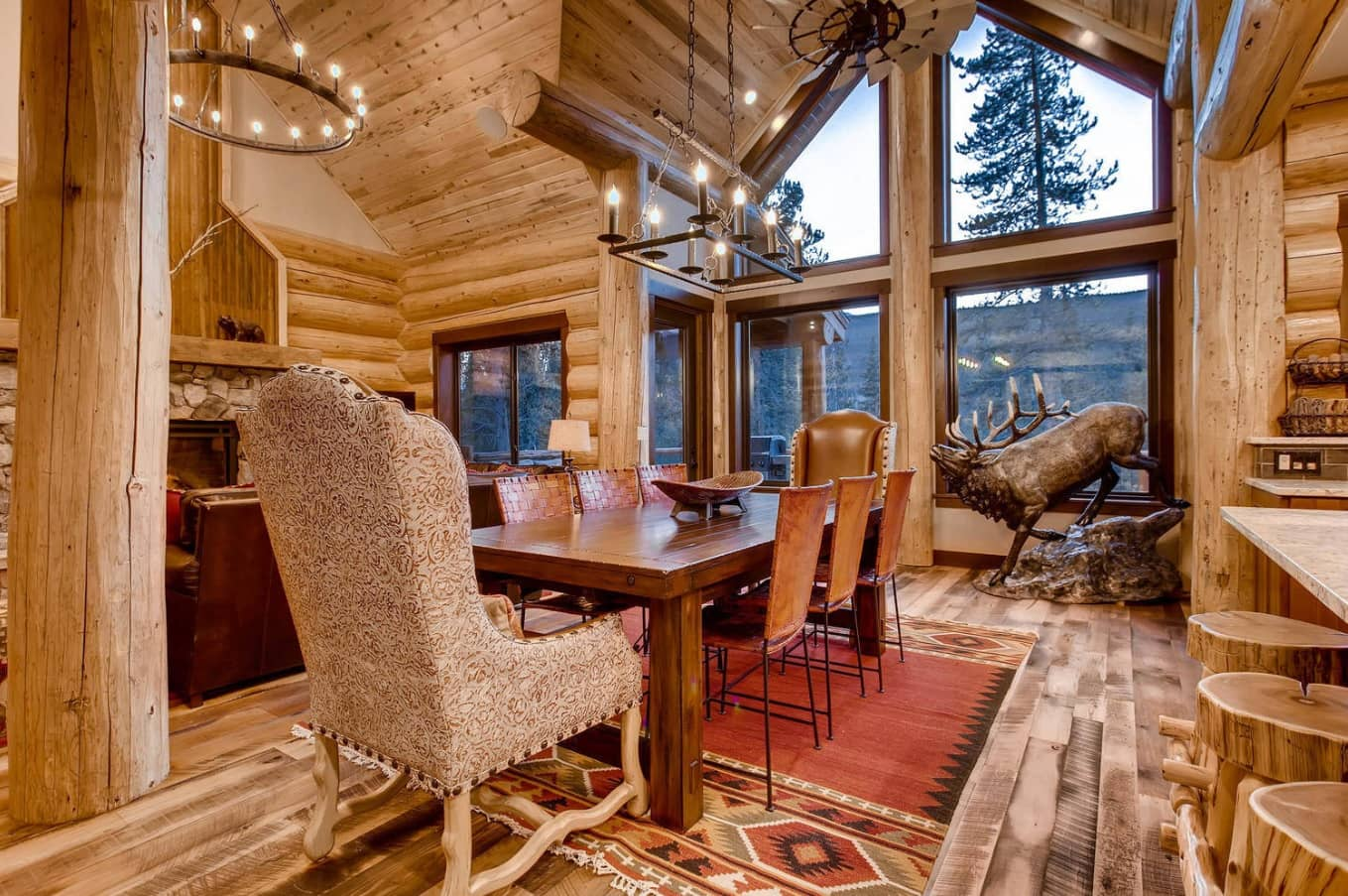 How to Turn Your Home Into a Dream Log Cabin. Open Ceiling beams and the grandeur scale of the interior