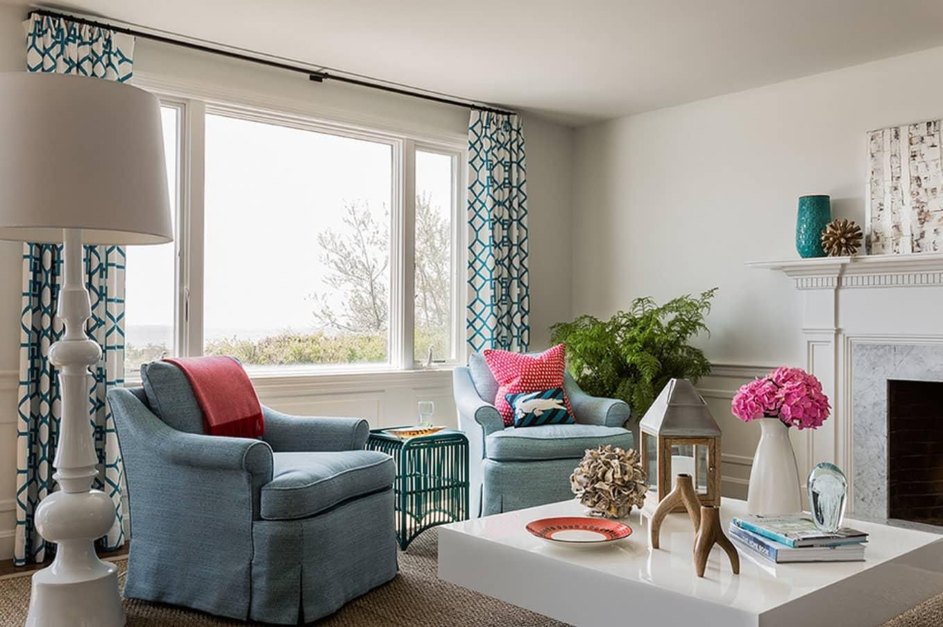 6 Places That Dust May Be Lurking in Your Home. Turquoise dotted curtains in the Classic living
