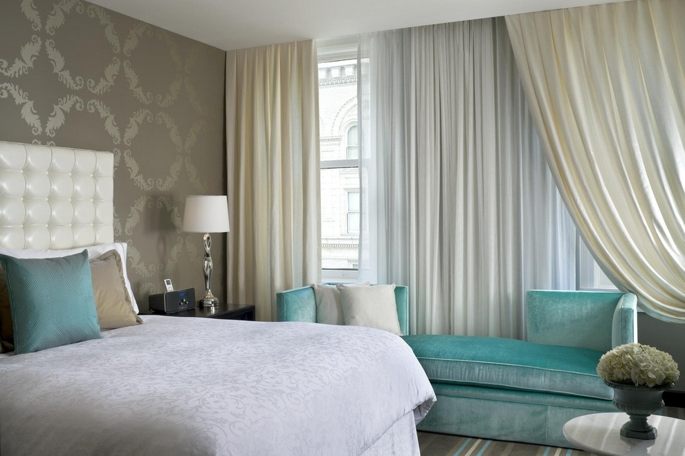 Cozy neoclassical bedroom with brown textured wallpaper