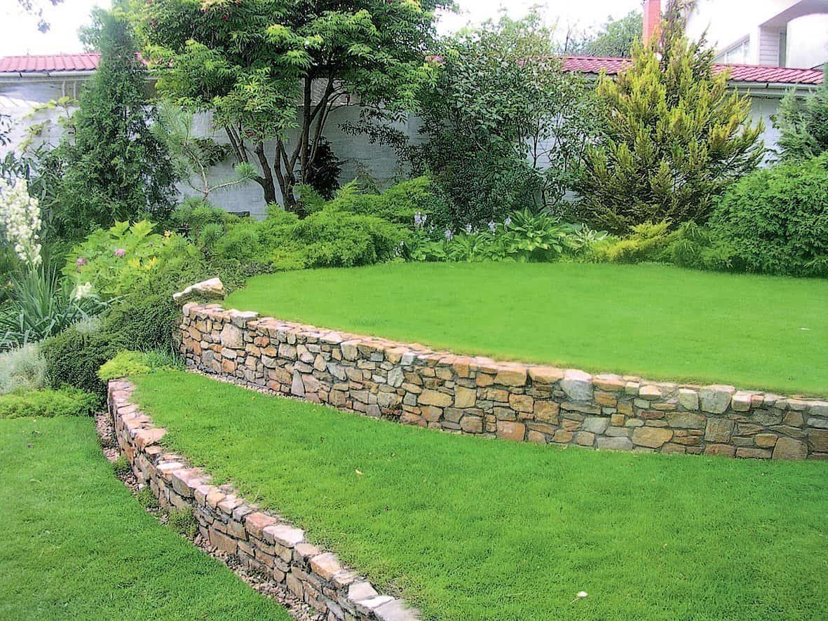 Different levels of lawns at the backyard on the slope