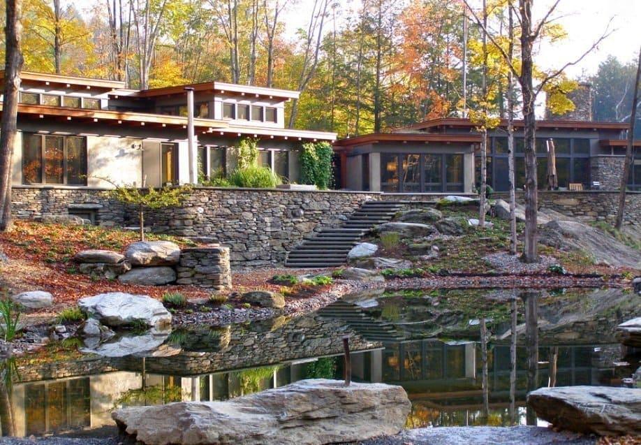 Modern designed mansion full of stone cladding
