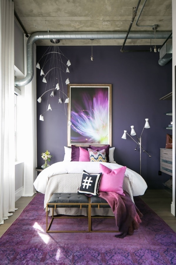 Small Bedroom? No Problem! 10 Room Ideas That Are Big in Style. Colorful vintage room with dark purple walls