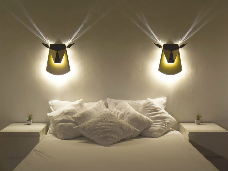 Great nigh lamps design in the form of spreading light heads of deers