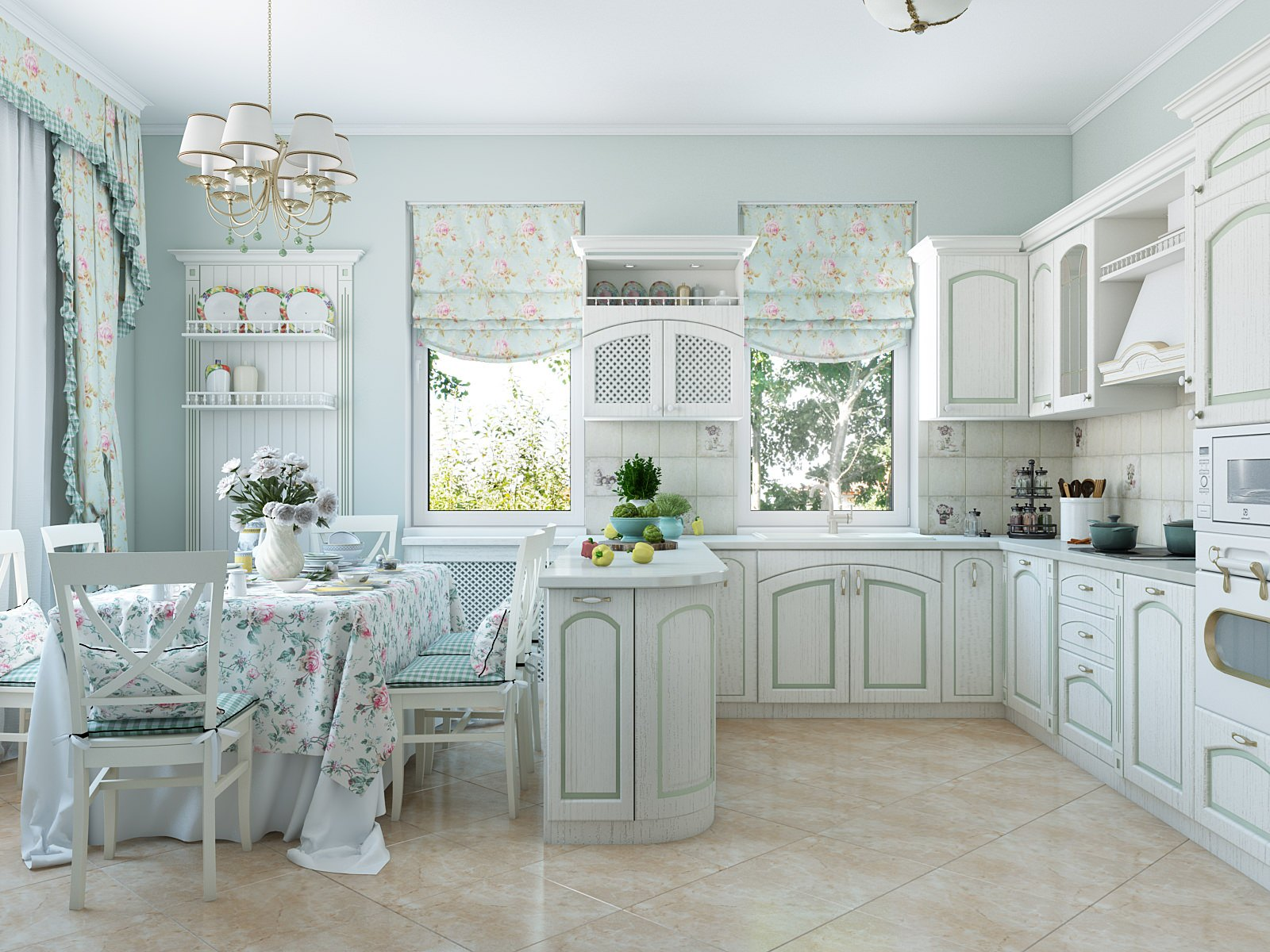 Provence Style Kitchen Interior Design for Cozy Life with Taste of Classics. Pale blue colored furniture with white dining zone