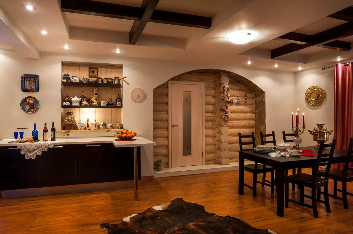 Chalet Kitchen Interior: Description, Design Tips with Photos. Atmospheric and cozy space with cow pelt and log entrance