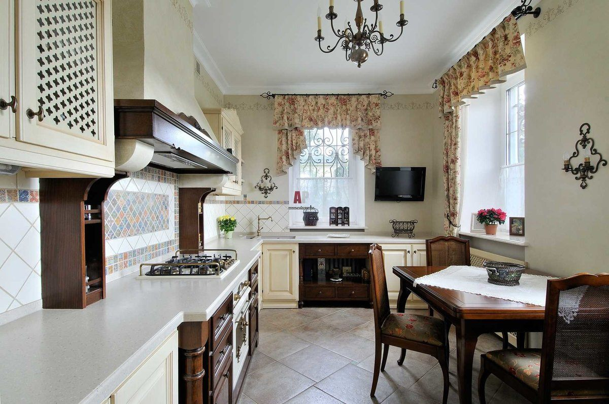 Provence Style Kitchen Interior Design for Cozy Life with Taste of Classics. Typical marvelous French village style with beige curtains and dark wooden fruniture